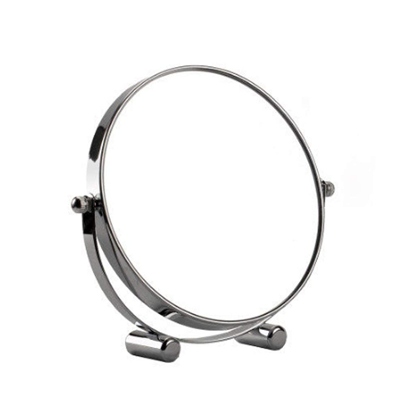 四抽選繊細化粧鏡360°回転式円形両面3x倍率Continental HDバニティミラートラベルポータブルデスクトップシェービングミラー(シルバー)(サイズ:17cm)
