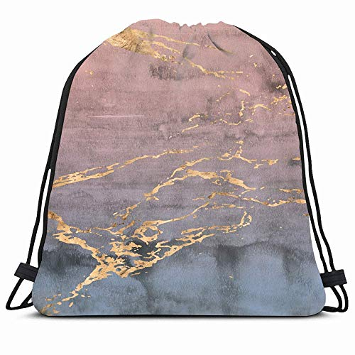 KAKALINQ Drawstring Backpack String Bag Blue Metallic Pink Rose Organic Marbled Veins Foil Overlaid Watercolor Agate Texture Cracked Marble Dusty Sport Gym Sackpack Hiking Yoga Travel Beach