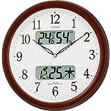 CITIZEN シチズン 掛け時計 電波時計 温度・湿度計付き ネムリーナカレンダー M01 ブラウン 32.5×32.5×5.0cm 4FYA01-006