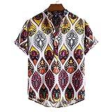 GBEN Camisa de lino para hombre, estilo vintage étnico Henley, camiseta de manga corta para verano, con botón Down Very Loud Shortsleeve Surf Unisex Casual Hawaiana