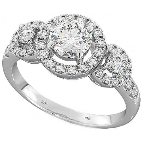 Ladies 925 Sterling Silver DAZZLING ROUND CLUSTER 3 STONE ENGAGEMENT WEDDING RINGS T