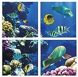 ENERJ Panel LED de Escena submarina de 40 W, 600 x 600 mm, 6500 K Azulejos de Techo con Corel Arrecife y pecera Efecto 3D imita bajo el mar luz Natural, Blanco