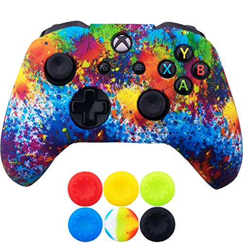 9CDeer 1 Piece of SiliconeTransfer Print Protective Cover Skin + 6 Thumb Grips for Xbox One/S/X Controller Colour Paint