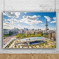 Qinunipoto ビニール 2.7x1.8m 名古屋のダウンタウン スカイライン 名古屋タワー 名古屋の空撮 写真撮影の背景 背景布 背景幕 写真スタジオ 写真撮影用の背景幕 商品/人物撮影 カスタマイズ可能な背景
