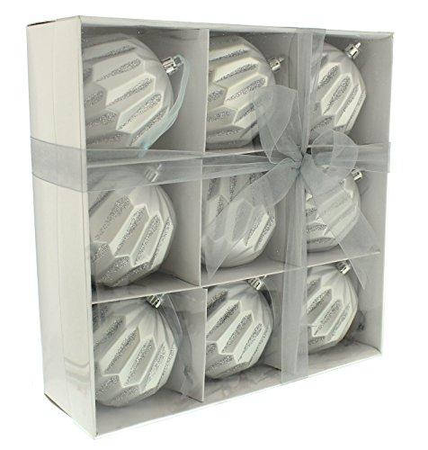 Festive Productions - 9 palline geometriche color argento opaco, in scatola di carta bianca, in microfibra, 24 x 8 x 24 cm