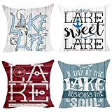 Set of 4 Lake Life Lake Sweet Lake Retro Wood Grain Sailboat Paddle Compass Anchor Pillows Cotton Linen Decorative Home Office Throw Pillow Case Couch Cushion Cover 18X18 inches