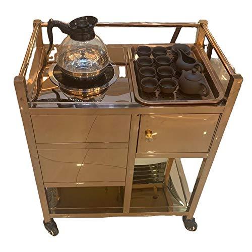 LSJGG Carrito de Metal para Interior o Exterior con Ruedas, Cocina, Bar, Comedor, Mueble para Servir Carrito de Servicio de Cocina Almacenamiento de Vino (Color : Rose Gold)