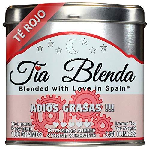 TIA BLENDA - ADIÓS GRASAS (100 g) - Mezcla Exclusiva de TÉ ROJO PU-ERH Imperial Premium, JENGIBRE y CANELA. Té en hojas. 40 - 50 tazas. Presentación premium en lata. Loose Tea Caddy.