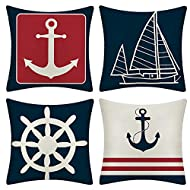 JOTOM Set of 4 Decorative Cushion Covers Square Nautical Sailing Throw Pillow Covers Home Decor Design Set Covers Cushion Case for Sofa Bedroom Car 18x18 Inches (Anchor)
