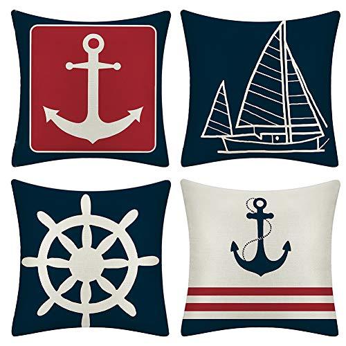 JOTOM Cushion Covers Decorative Cotton Linen Throw Pillow Case Sofa Car Sailboat & Ship Rudder Pillowcase for Home Bed Decor 45 x 45cm,Set of 4 (Anchor)