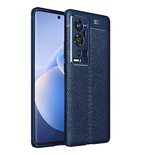 Golden Sand Cover Leather Texture Series Shockproof Armor TPU Back Case Cover for Vivo X60 Pro+ Plus Mobile Phone, Shimmer Blue