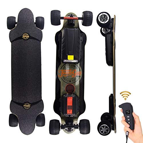 WRISCG Elektrisches Skateboard Longboard, Skateboard Elektrisches, City/Offroad Scooter, Elektrolongboard mit Fernbedienung, 480w Doppelantrieb Motor - Reichweite Ca 50 km - Geschwindigkeit 45km/h