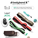 Bodyband Pull Up Assist Bands, Heavy Loop Resistance Powerlifting Band Set with Booster eBook, Door Anchor, Ankle Strap and Bag for Men and Women (Mint Blue, 15-35 lbs)