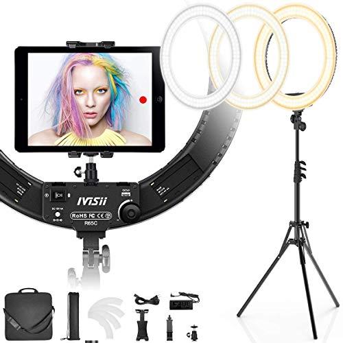 IVISII Ringlicht mit Ständer und Handy-Halterung, 60 W, zweifarbig oder für Live-Stream/Make-up/YouTube-Video/TikTok/Zoom/Fotografie