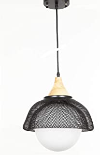 Nurluce IronMesh Metal Wood Chandelier Round Mesh Basket Pendent Light Retro Rustic Loft Antique Lamp Edison Vintage Pipe Sconce Decorative Light Fixtures Ceiling Light for Office,Cafe,Beauty Salon
