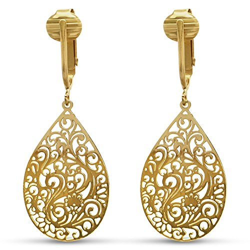 Aloha Earrings Lovely Victorian Filigree Clip On Earrings for Women Clip-ons, Lightweight Teardrop Leaf Dangle (Small Filigree- Gold Tone)