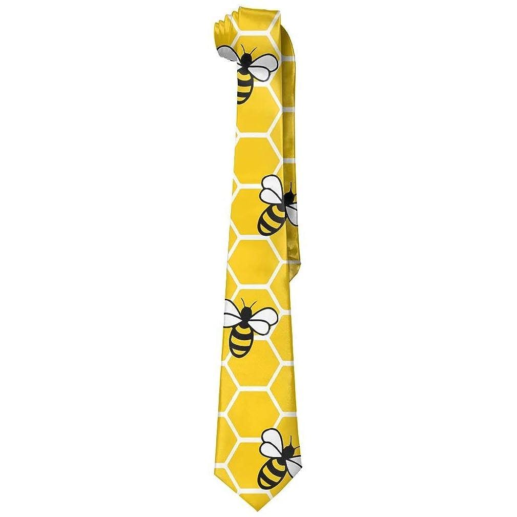 NVJUI JUFOPL Men's Honeybee Honeycomb Bees Necktie Tie Silk Necktie Neck Ties Elegant Neckties