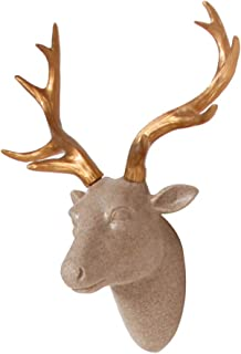 Dramatic Deer Head Wall Sculpture, Faux Sandstone Resin Animal Head with Gold Antlers for Wall Mount Decoration, Size 10