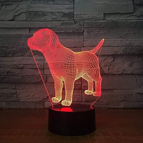 Luz De Noche 3D Lámpara De Ilusión De Perro Lindo 7 Colores Cambio De Control Remoto Toque Usb & Amp;Lámpara Decorativa De Juguete Con Pilas Para Regalos De Niños Niñas