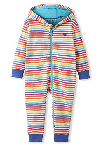 kIDio Cotone Biologico - Bebè - Pagliaccetto con Cappuccio - Bambino Bambina (0-24 Mesi) (3M (0-3 Mesi), Strisce Arcobaleno)