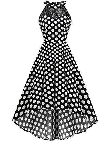 DRESSTELLS Damen 50er Vintage Rockabilly Kleid Neckholder Cocktailkleid Vokuhila Festliche Kleider für Hochzeit Black White Dot S