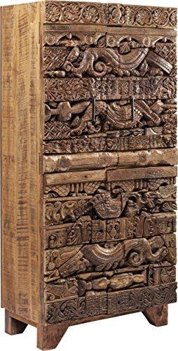 Kare Design Schrank Shanti Surprise Puzzle Nature, schmale, hohe Echtholz Kommode aus Mango Holz, braune Design Hochkommode, (H/B/T) 180x85x45 cm