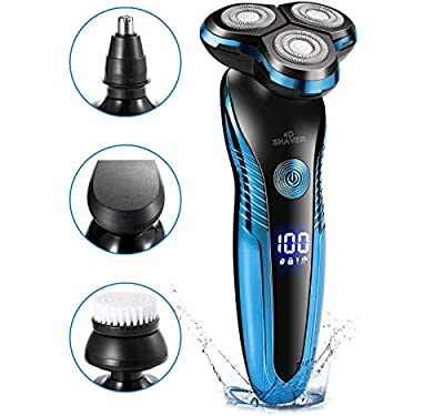 QLSMEB Electric Shaver - Waterproof 4 in 1 Rotary Men's Shaver Razor Rechargeable Wet & Dry with Nose Hair Trimmer Facial Cleaning Brush Hair Removal Kit for Your Daily Use and Travel