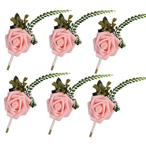 Famibay Rosa Boutonniere Bräutigam Anstecker Blumen Braut Hochzeitsanstecker Gästeanstecker (Rosa)