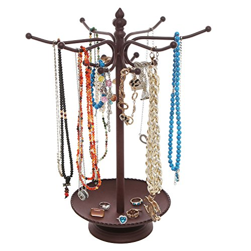 MyGift Vintage Style Brown Metal 12 Hook Jewelry Organizer Tree Rack Stand w/Ring Dish Tray