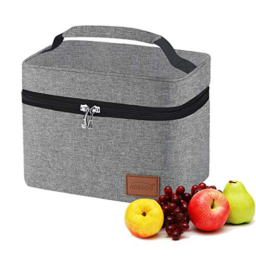 Aosbos Lunch Bag Insulated Lunch Box for Men Women Reusable Lunch Cooler Soft Lunch Tote Bags Adult Thermal Lunch Pail Meal Prep Container Lunch Holder for Office Travel Picnic Grey