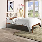 Metal Twin Bed Frame, Retro Platform Bed with Headboard, Wooden Slats Support, Antique Copper