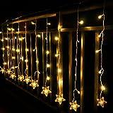 TOFU Lichtervorhang Sterne, Led Lichterkette fenster mit EU-Stecker, warmweiße Weihnachtsdeko für Vorhang, Weihnachten, Halloween, Hochzeit, Clubs, Kinderzimmer, zu Hause, Deko Party Innen/Außen