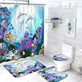 Ikfashoni 4Pcs Sea World Shower Curtain Set with Non-Slip Rugs, Toilet Lid Cover and Bath Mat, Dolphin Shower Curtain with 12 Hooks, Durable Waterproof Fabric Bath Curtain for Bathroom