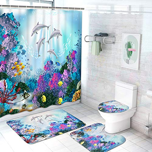 4Pcs Sea World Shower Curtain Set with Non-Slip Rugs, Toilet Lid Cover and Bath Mat, Kids Dolphin Shower Curtain with 12 Hooks, Sea Ocean Fabric Bath Curtain for Bathroom