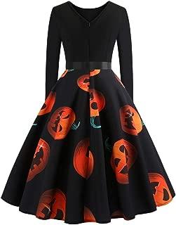 Halloween Elegant Dresses, Women A Line Cocktail Pumpkin Skater Swing Party Dress