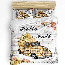 Hello Fall - Juego de fundas nórdicas de 3 piezas, funda nórdica suave y cómoda para todas las estaciones, juego de ropa de cama resistente a las arrugas y a la decoloración, camión de acción de graci