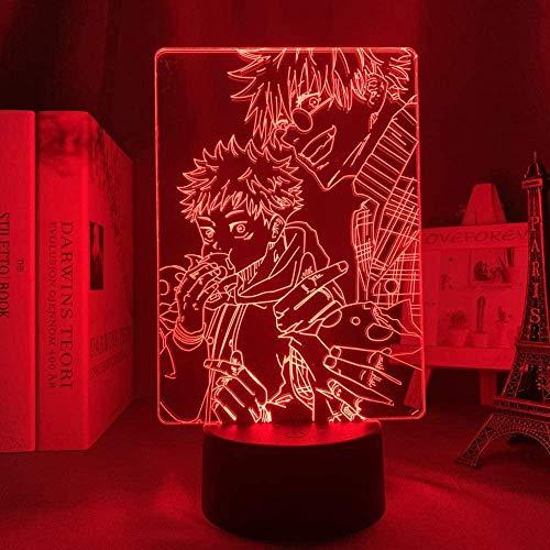 FUTYE Luces de noche 3D para niños y niñas, lámpara de anime Satoru Gojo LED noche luz Yuji Itadori para habitación Deco lámpara Yuji itadori lámpara led noche luz para niños 7 colores + táctil