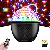 Disco Ball Lights Rotating, BIRUI 16 Colors Strobe Light Portable Sound Activated Party Lights with Bluetooth Remote Battery Operated DJ Stage Lights and kids Night Light for Room Xmas (Black-Cat)