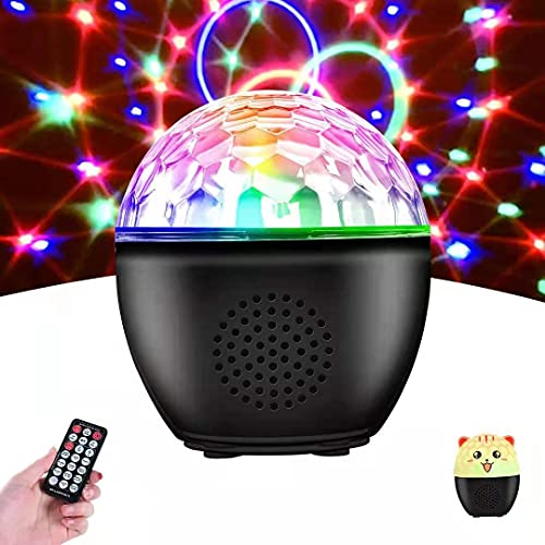 Disco Ball Lights Rotating Bluetooth Speaker, BIRUI 16 Colors Strobe Light Portable Sound Activated Party Lights with Remote Battery Operated DJ Stage Lights and kids Night Light for Room Xmas