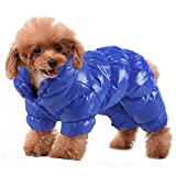 YOUDirect Winter Dog Coat Waterproof Windproof Dog Snowsuit Warm Fleece Padded Winter Pet Clothes for Chihuahua Poodles French Bulldog Pomeranian Small Dogs (XXL, Blue)
