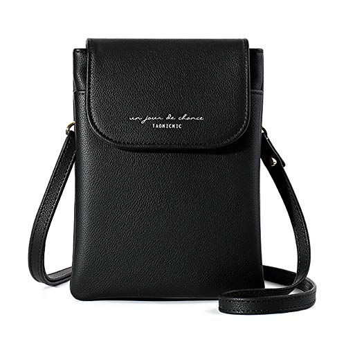 Aeeque Lightweight Leather Cell Phone Purse, Small Crossbody Bags for Women Cellphone Shoulder Bag Ladies Clutch Wallet for iPhone 12 Pro Max 11 XS XR 8 7 6S Plus, Black