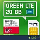 Handyvertrag o2 green LTE 20 GB - Internet Flat, Allnet Flat Telefonie & SMS in alle Deutschen Netze, EU-Roaming, mtl. kündbar