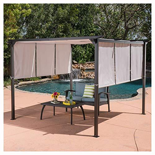 Gazebo & Canopy, Outdoor Patio Steel Frame Gazebo Pergola with Grey Water Resistant Sun Shade