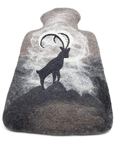 feelz - Wärmflasche gefilzt Steinbock Filz Wolle (Merino) Wärmflaschenbezug - Handarbeit Fairtrade