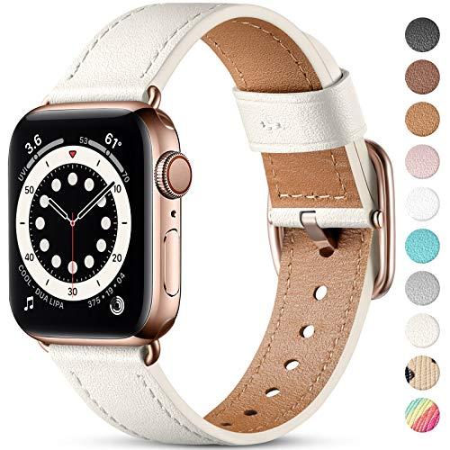 Oielai Correa de Cuero Compatible con Apple Watch Correa 38mm 40mm 42mm 44mm, Suave Genuino Cuero Reemplazo Correa para iWatch SE/Series 6 5 4 3 2 1, 38mm/40mm, Blanco Marfil