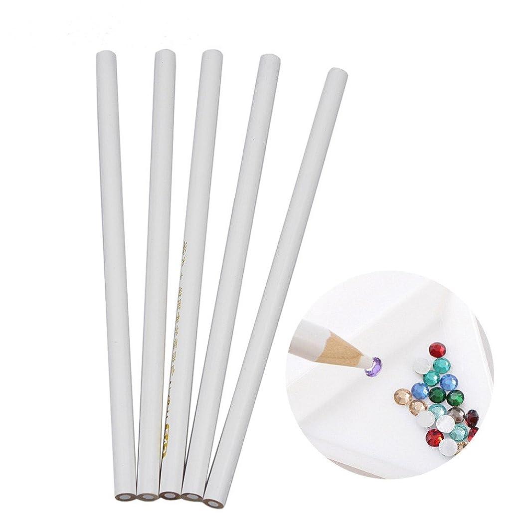 セミナー公運動Artlalic 5宝石のビーズrhinestonesピンク白い製作の鉛筆のマニキュアアートツール