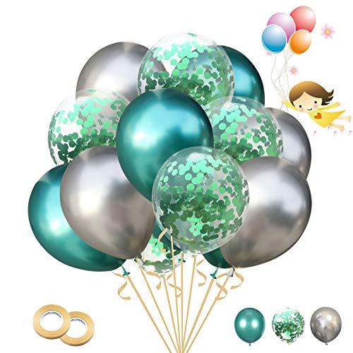 30 Pezzi 12 Pollici Palloncini in Lattice Palloncini di Coriandoli Palloncini Metallici Palloncini Compleanno per Matrimonio, Baby Shower, Decorazione Festa di Compleanno (verde)