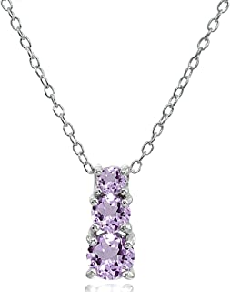 Sterling Silver Genuine, Created or Simulated Gemstone Round Graduating 3-Stone Pendant Necklace, 16