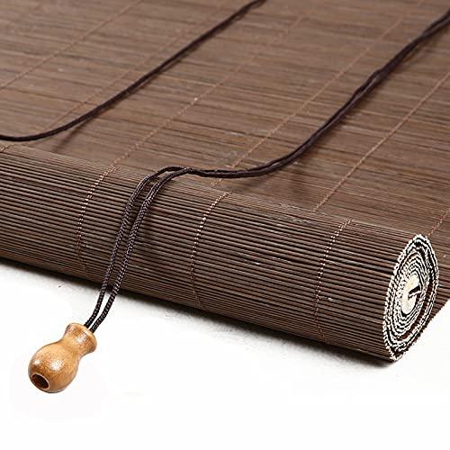 Persianas Enrollables de Bambú Retro,Estor de Bambú con Ganchos,50% UV Protección Filtro de Luz Persianas Enrollables,para Decoración Ventana/Balcón/Terraza/Gazebo Cortina Romana (80x180cm/32x71in)