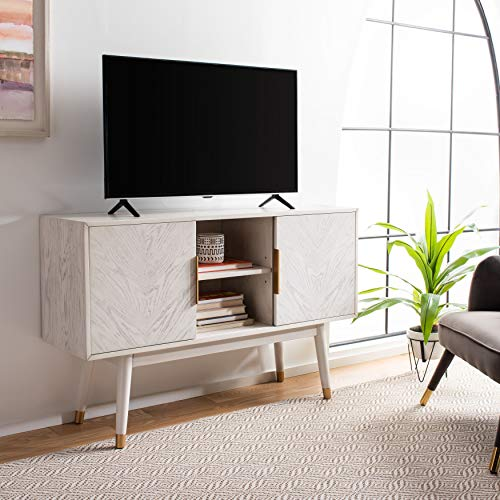 Safavieh Home Collection Ligia White Washed 2-Door Storage TV (60-inch Flat Screen) Media Stand